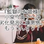 『監獄のお姫様』小泉今日子への劣化発言に嫌悪感。うんざり?
