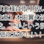 『奥様は取り扱い注意』本田翼の演技。下手という評価はおかしい!