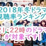 2018年冬ドラマ視聴率ランキング!21・22時のドラマが対象です!